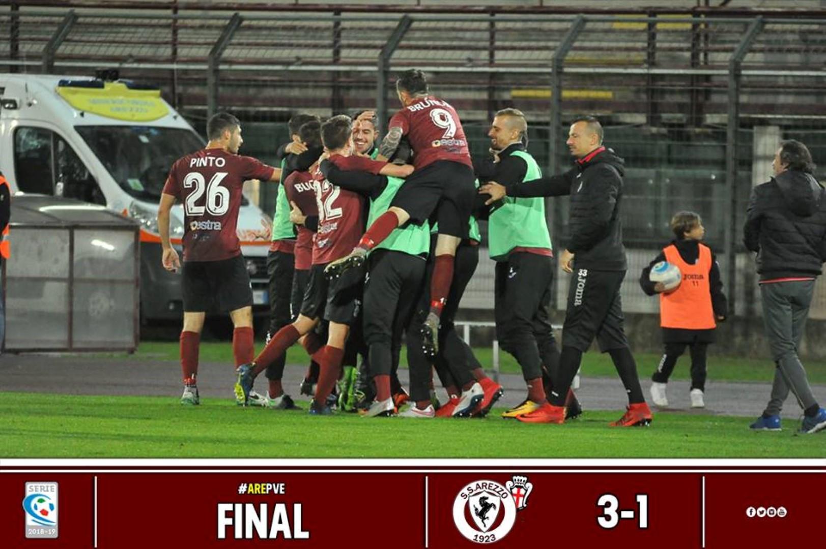 Calcio: Arezzo 3 – Pro Vercelli 1