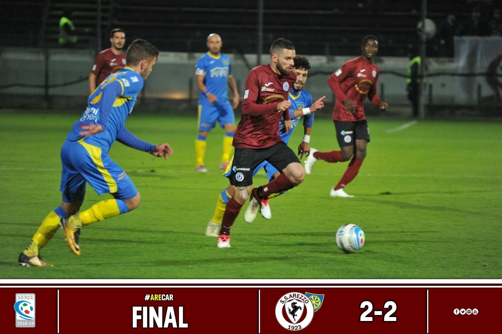 Calcio: Arezzo 2 – Carrarese 2