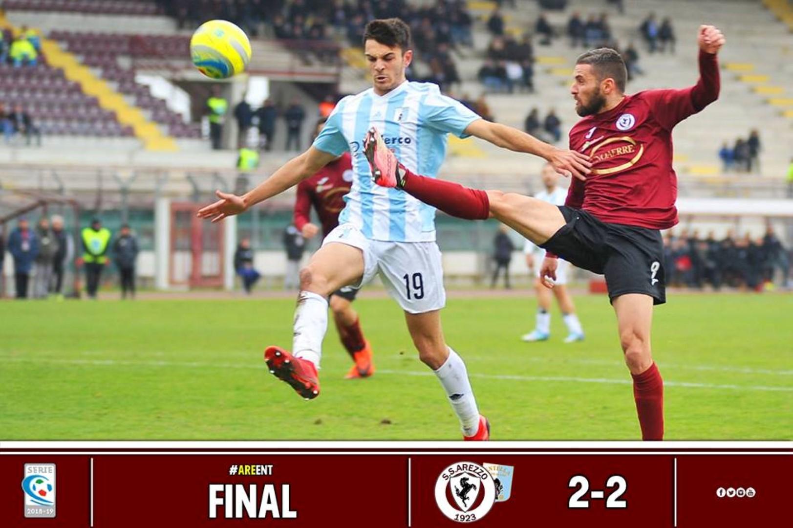 Calcio: Arezzo 2 – Virtus Entella 2