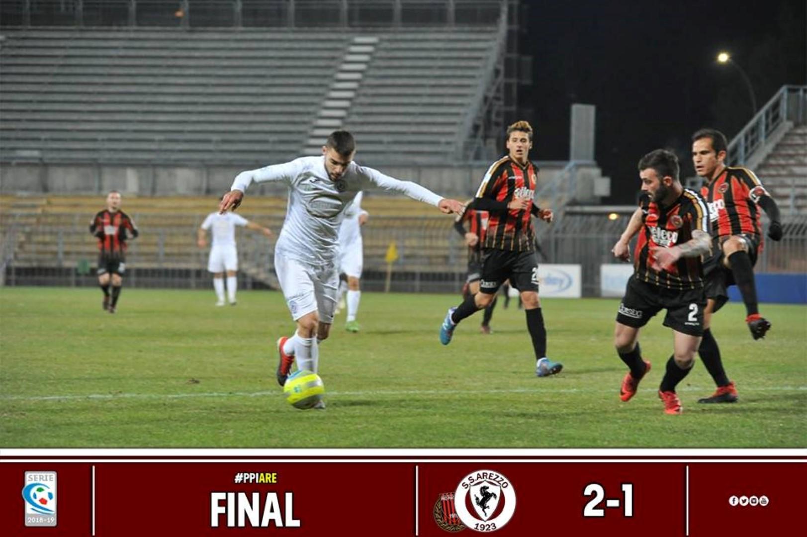 Calcio: Pro Piacenza 2 – Arezzo 1