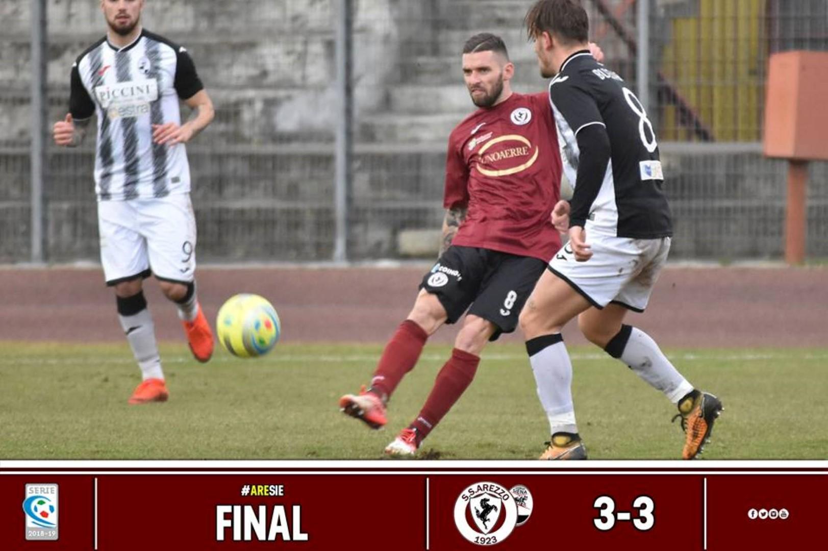 Calcio: Arezzo 3 – Siena 3