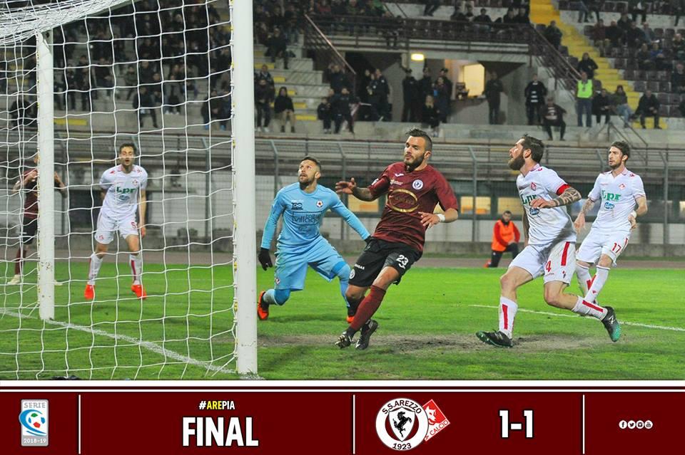 Calcio: Arezzo 1 – Piacenza 1